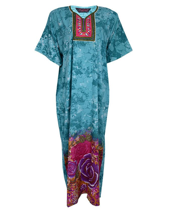 YORK MAXI DRESS( KAFTAN) WITH LEAF PRINT - BlueSIZES 18 ,22   N4,500