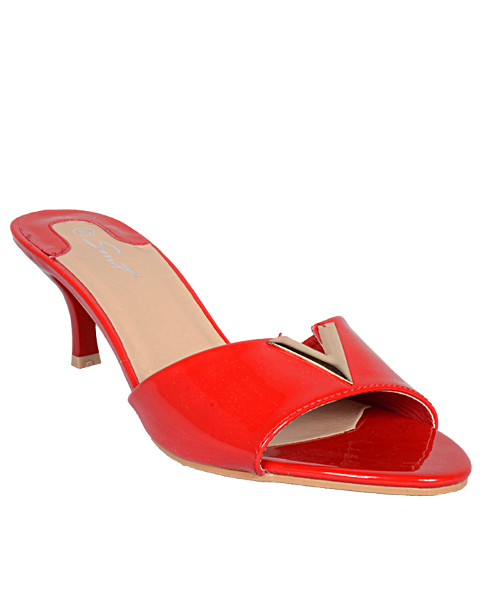 heeled patent v slippers - red    sizes  u.k 6  n12,000