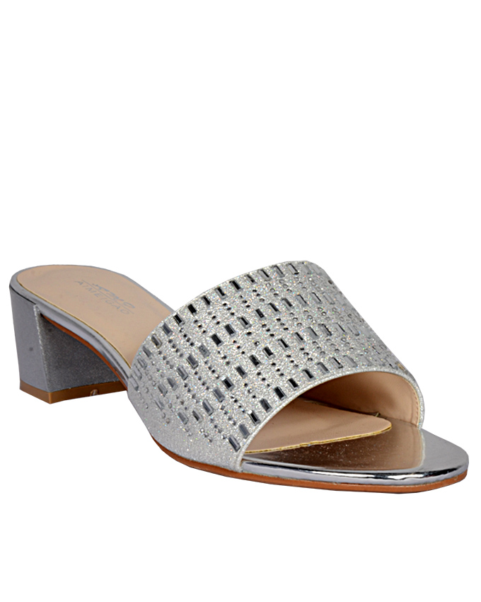 leather slippers with silver lines - silver    sizes  u.k 6   ( SOLD OUT)   n12,000