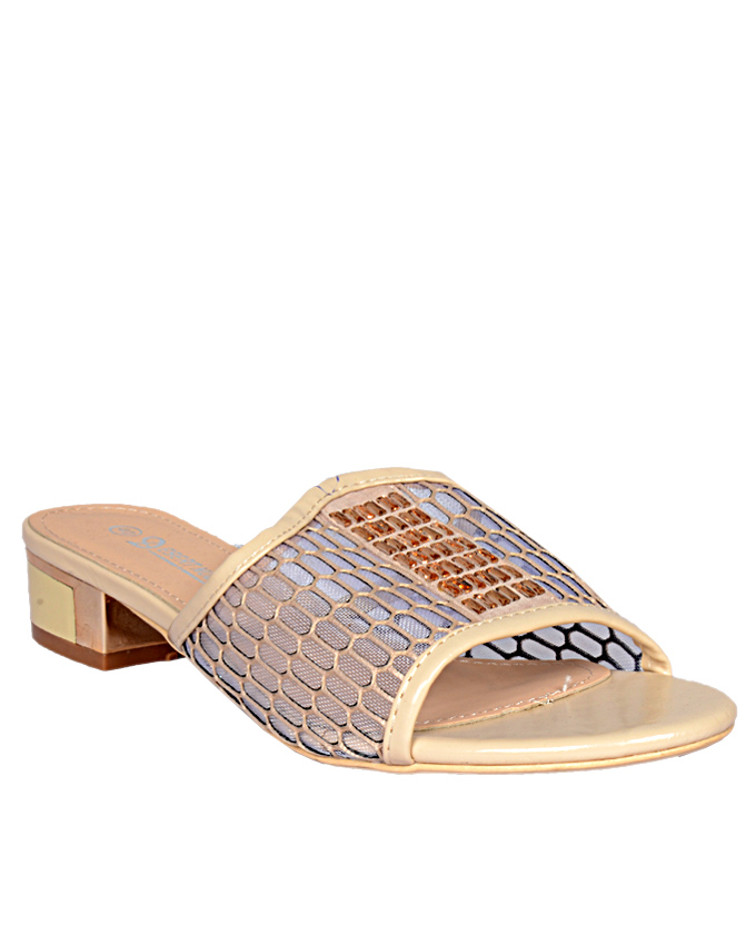 patent leather mesh slippers - gold    sizes  u.k 6 (  sold out)   n12,000