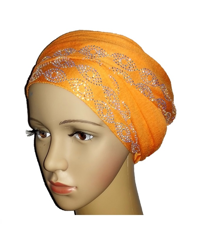 NEW    regal turban with sea wave design - orange   n5,800