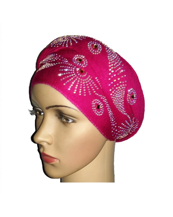 new    regal turban with SUN CIRCLE STUDS - HOT PINK   n5,800