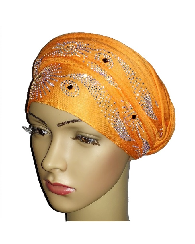 new    regal turban with SUN CIRCLE STUDS - orange   n5,800