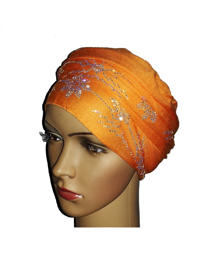 new    regal turban with PETAL STUDS - orange   n5,800