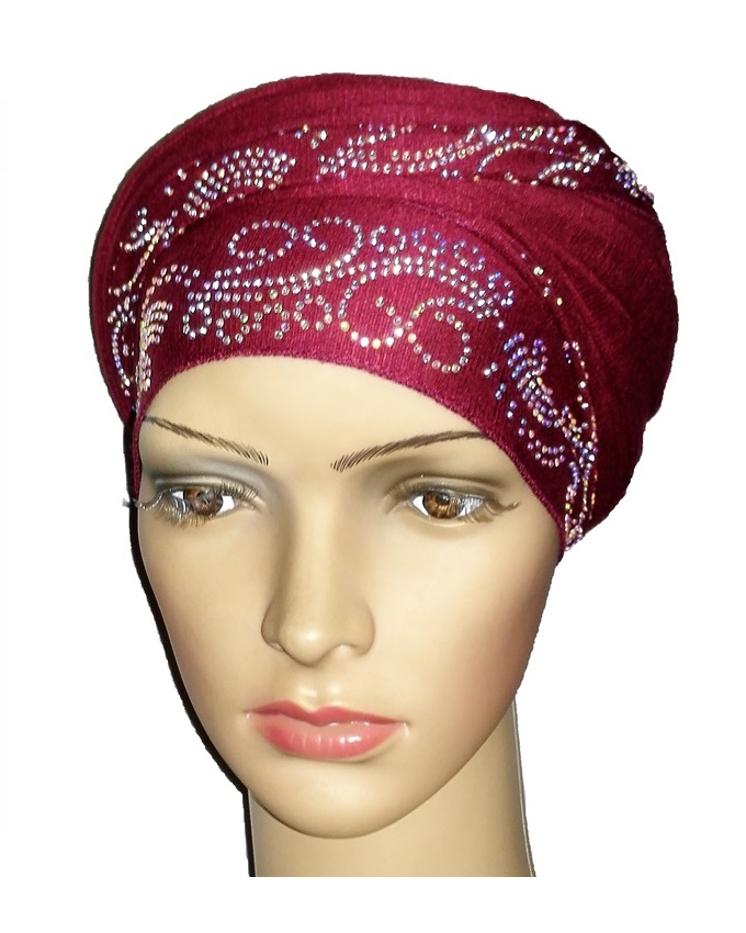 new    regal turban with lake waves- burgundy   n5,800