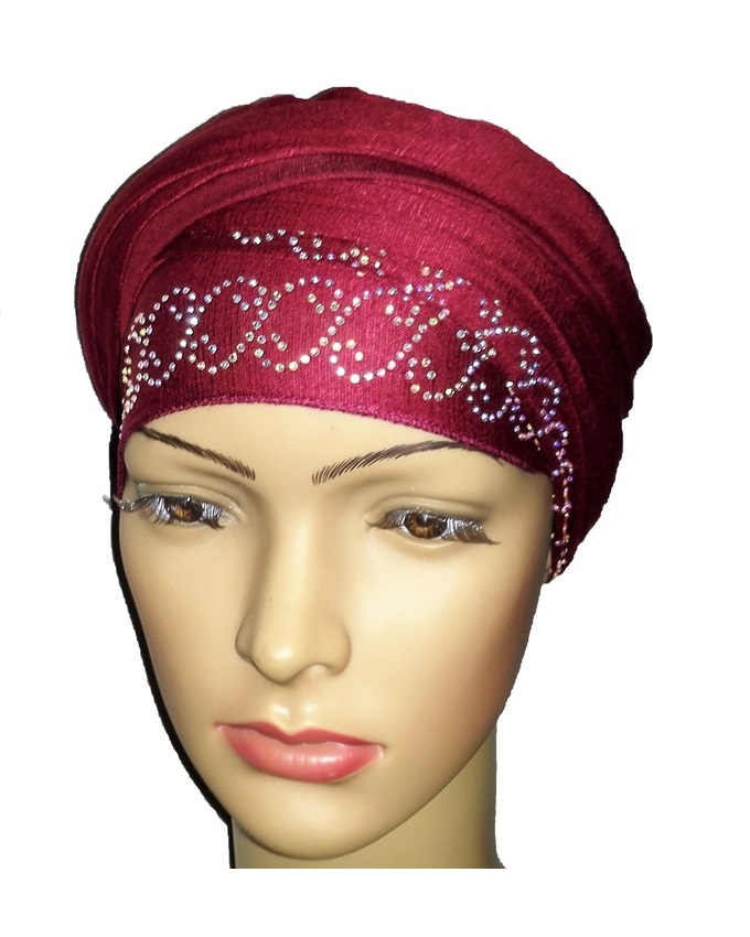 new    regal turban with chain link design- burgundy   n5,800