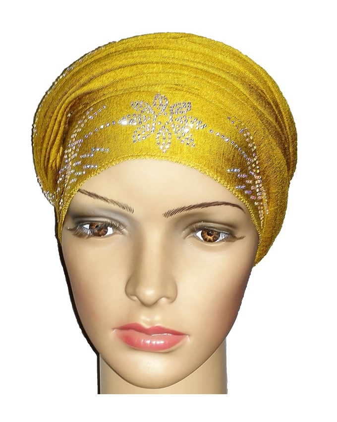 new    regal turban with petal studs- mustard   n5,800