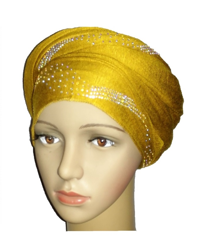 new    regal turban with centric print- mustard   n5,800
