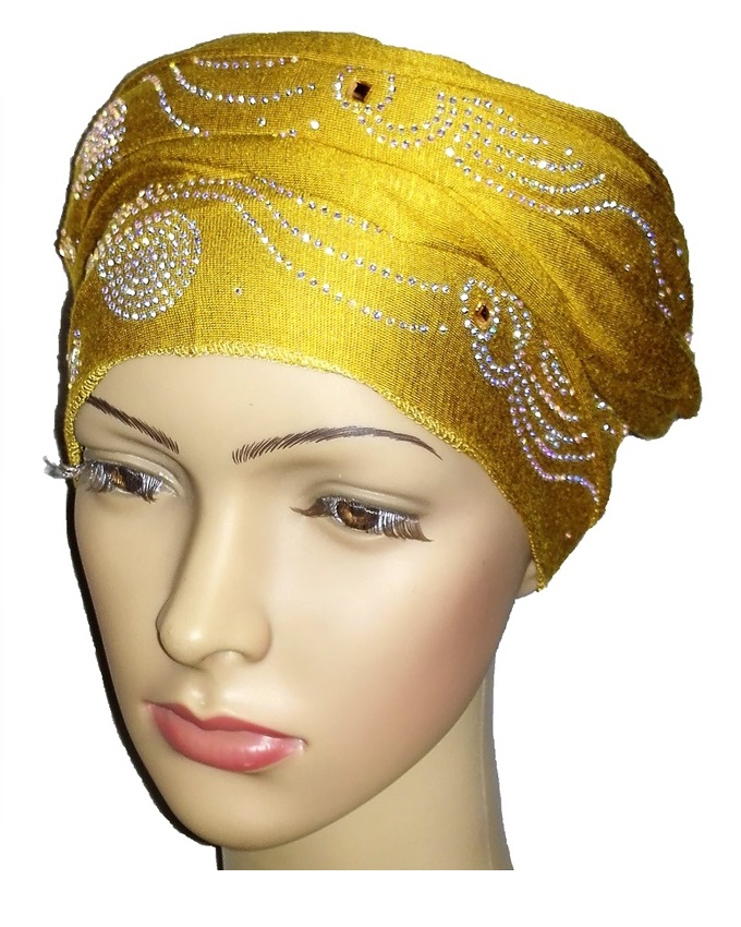 new    regal turban  wave & circle design- mustard   n5,800