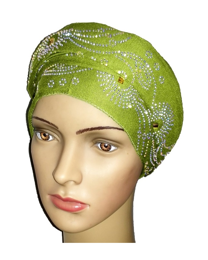 new    regal turban with circle studs- lime green   n5,800