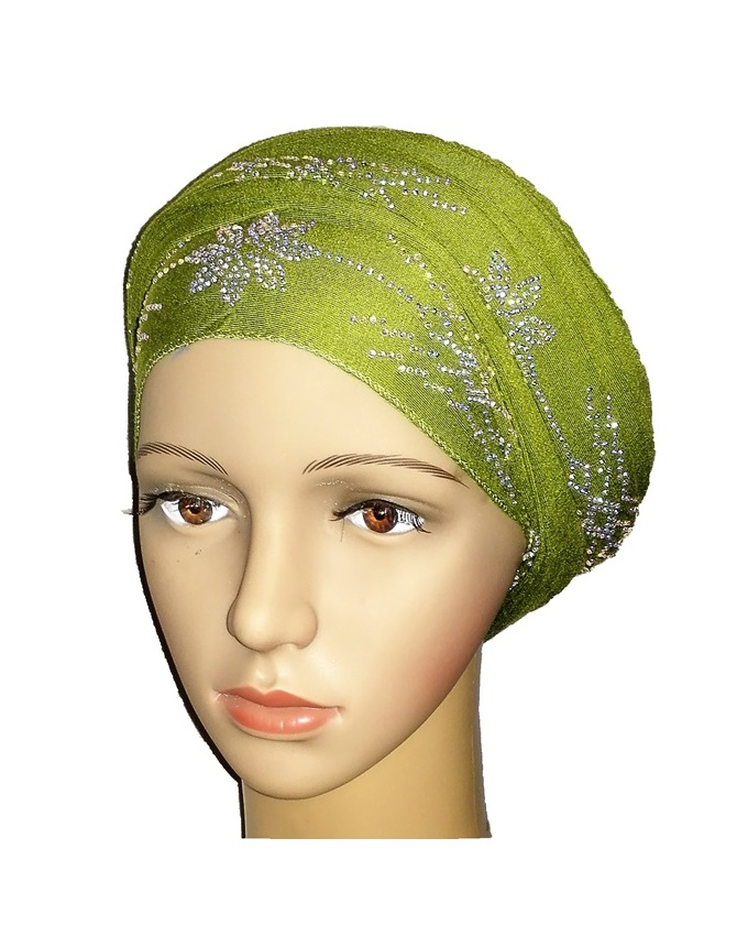 new    regal turban with petal studs - lime green   n5,800