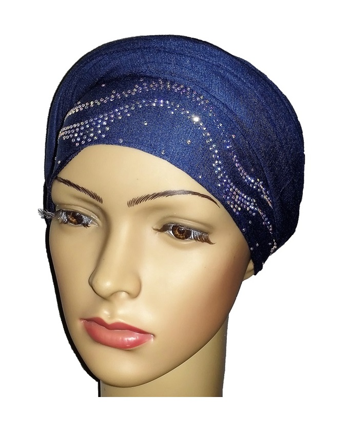 new    regal turban with ocean waves- denim blue   n5,800