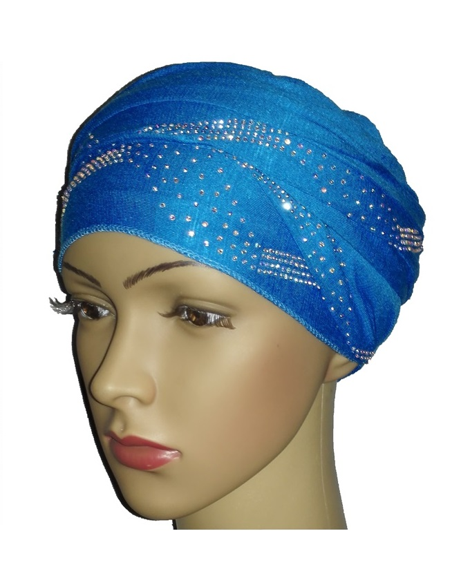 new    regal turban with centric print- turquoise   n5,800
