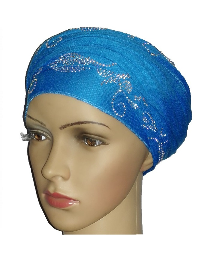 new    regal turban bajan wave design- turquoise   n5,800