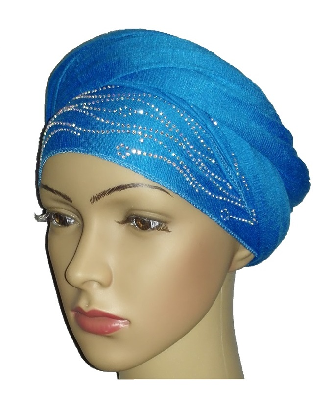 new    regal turban with sea wave- turquoise   n5,800