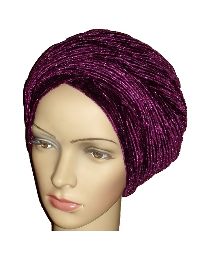 CURDUROY VELVET TURBAN - PURPLE   N4,500