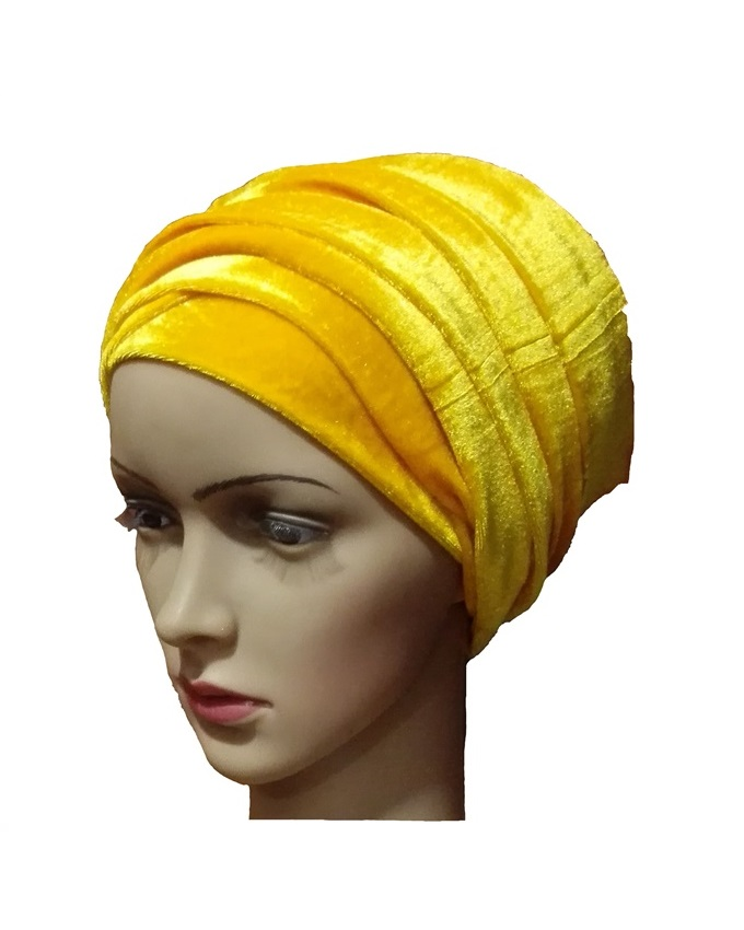 VELVET TURBAN - CANARY YELLOW   N3,500