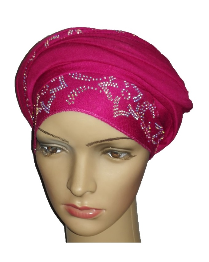 new    regal turban petal & circle design - hot pink   n5,800