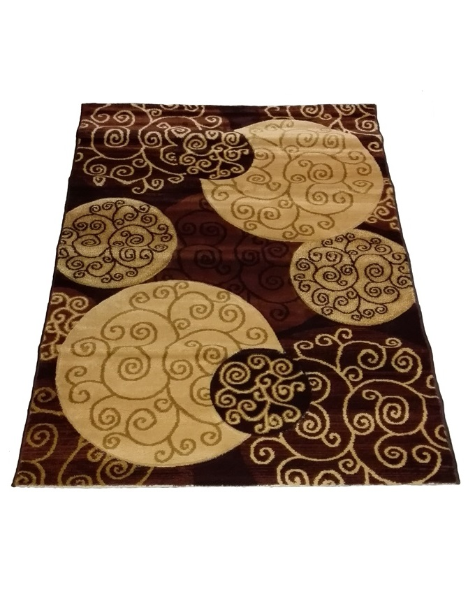 swirl and circle design rug - brown   80 x 150 cm    - n22,000  150 x 220 cm   - n40,000