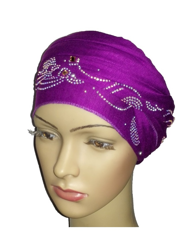 new     turban wave & circle design - tyrian purple   n5,800