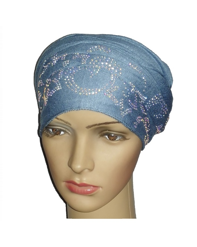 new    regal turban petal & circle design - baby blue   n5,800