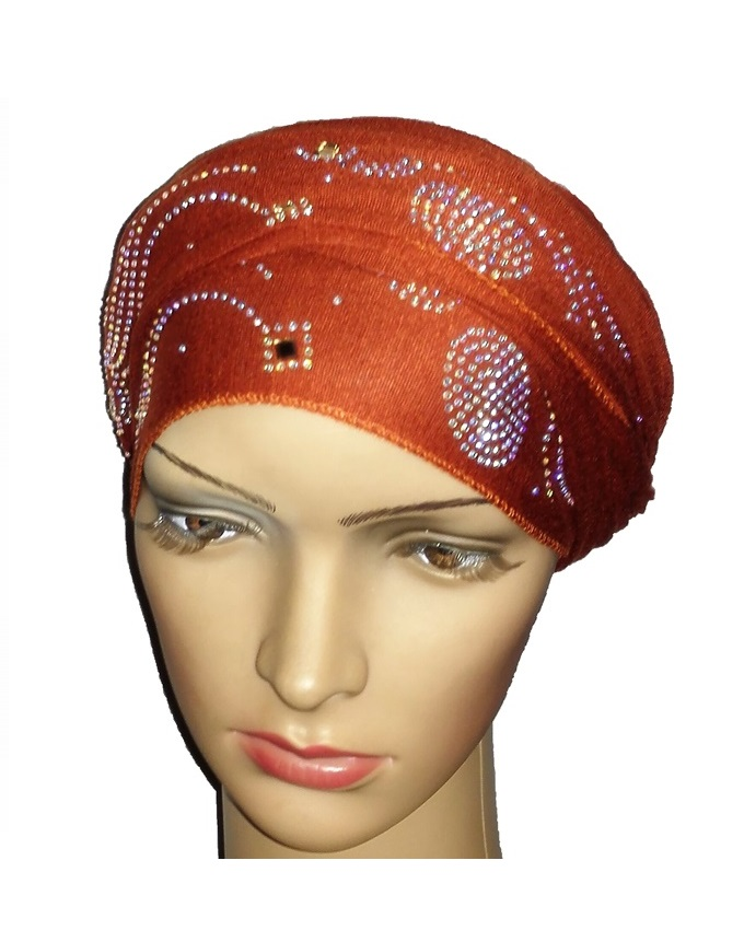 new    regal turban wave & circle - mocha brown   n5,800