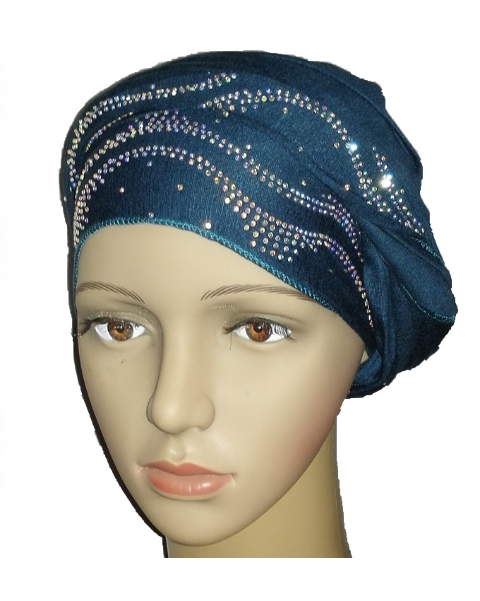 new    regal turban ocean wave design - dark teal   n5,800
