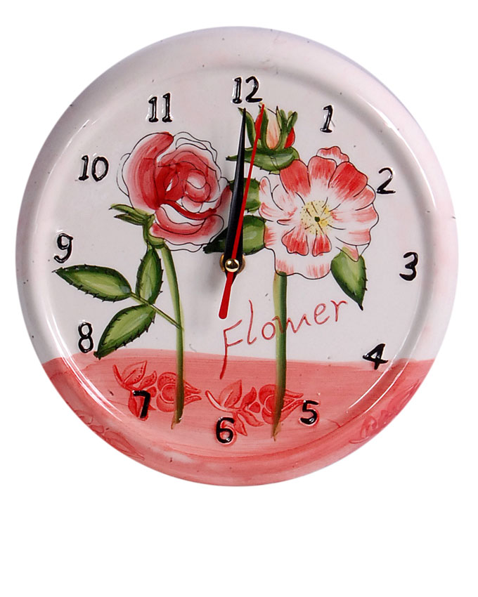 new    ceramic pink flower clock - 21cm   n3,700