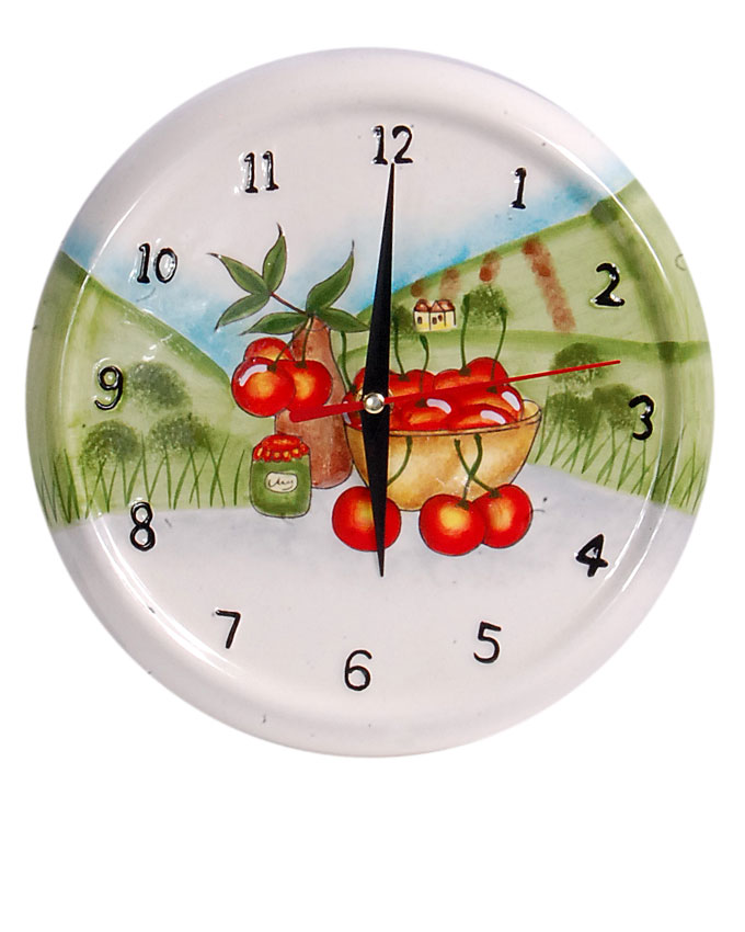 new    ceramic white cherries in a bowl clock - 21cm   n3,700