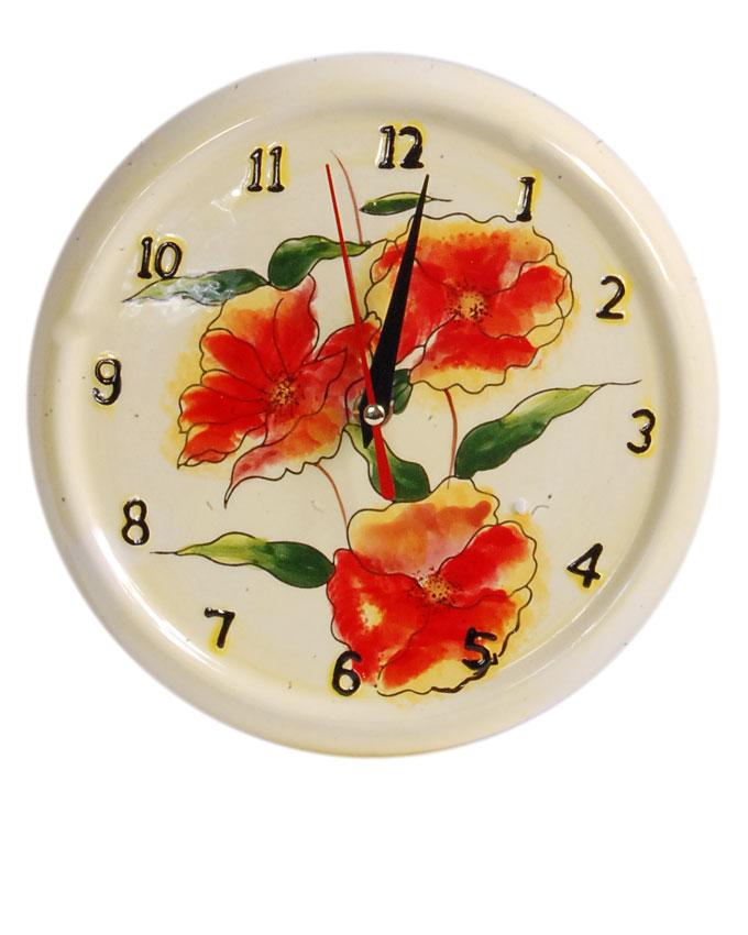 new    ceramic yellow fire flower clock - 21cm   n3,700