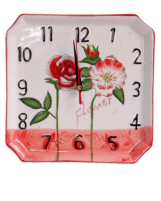 new    ceramic square pink flower clock - 22cm   n4,000