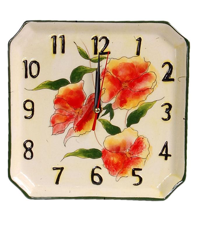 new    ceramic square yellow flower clock - 22cm   n4,000