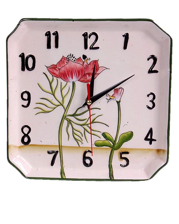 new    ceramic square cream flower clock - 22cm   n4,000