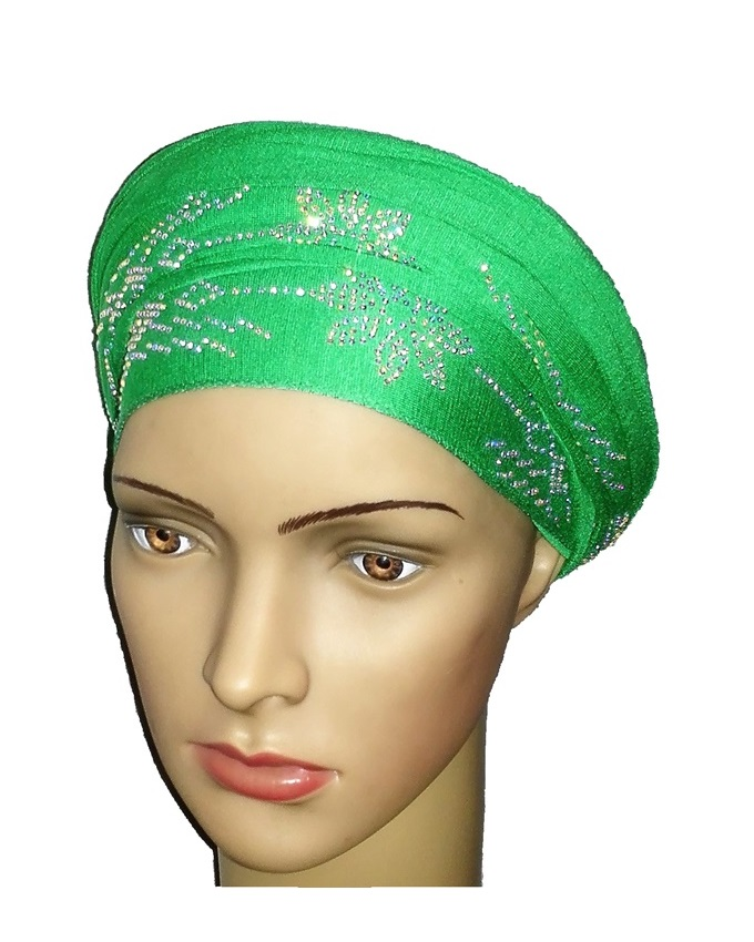 new    regal turban petal studs - leaf green   n5,800