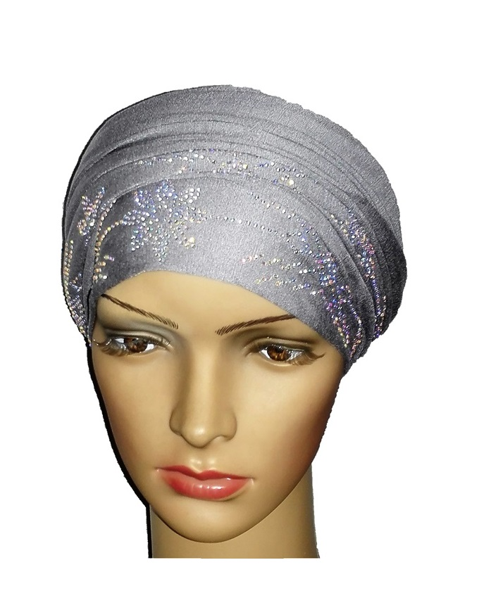 new    regal turban petal studs - ash grey   n5,800