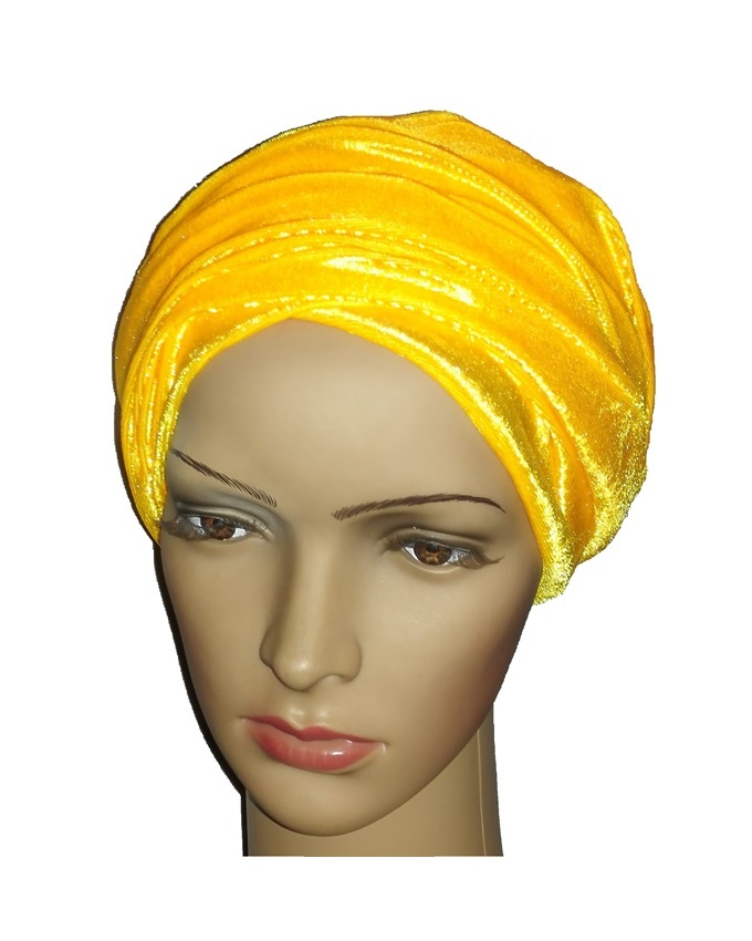 new    velvet turban - dorchester yellow   n3,000