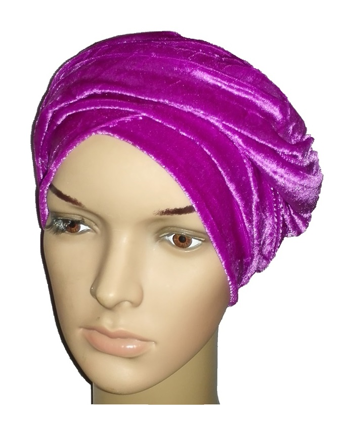 new    velvet turban - mardi gras purple   n3,000