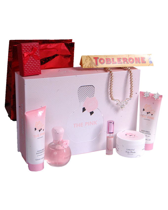 THE PINK GIFT SET ( TEDDY, PILLOW, CANDLE)   W/ CHOCOLATE AND EARRINGS  - N17,000  W/O CHOCOLATE & EARRINGS    - N10,000