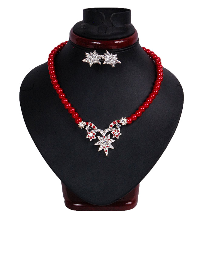 new    star shine jewelry set - red   n2,500