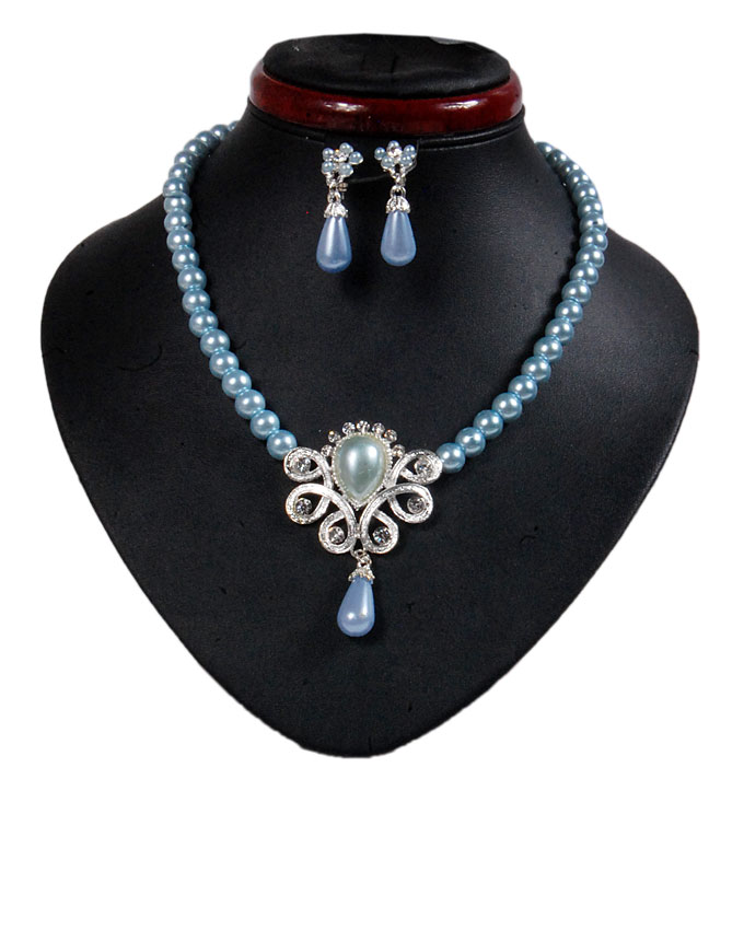 new    hyde park pearl jewelry set - baby blue   n2,500
