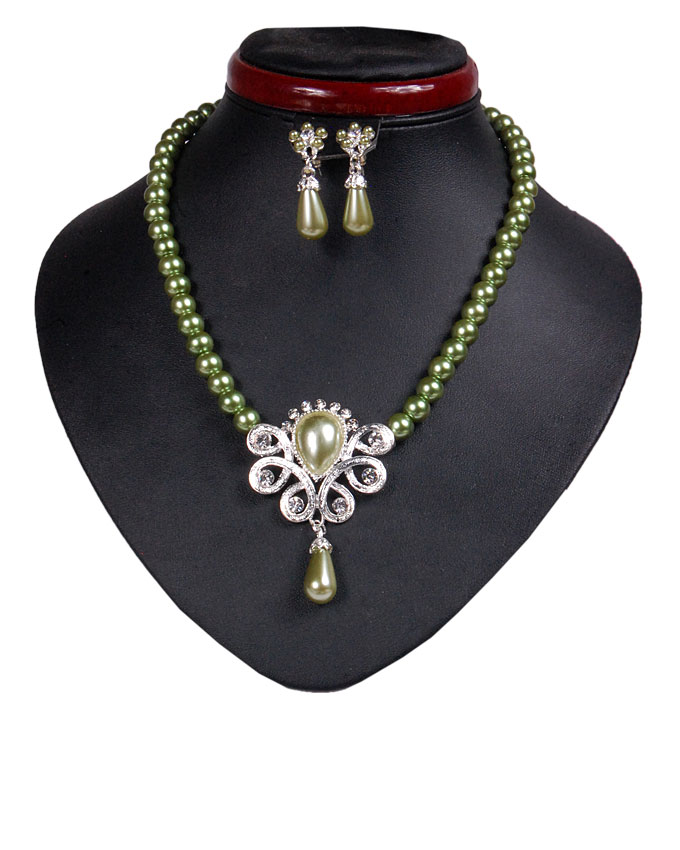 new   hyde park pearl jewelry set - ivory green   n2,500