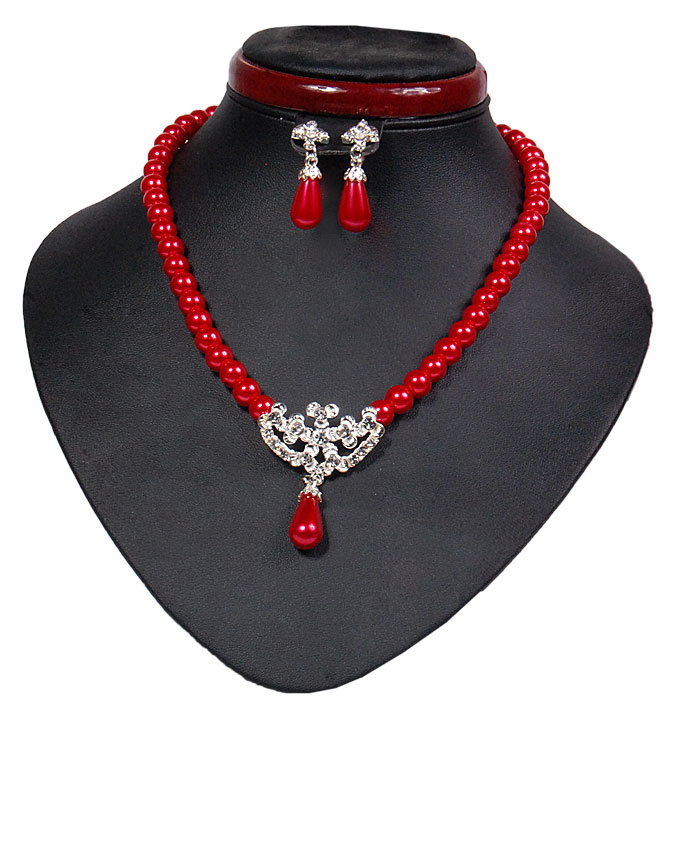 new    fulham bear pearl set - red   n2,500