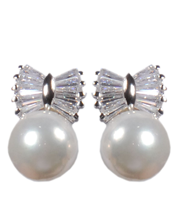 new item no t03215a1z    bow tie pearl earrings - white gold   n7,500
