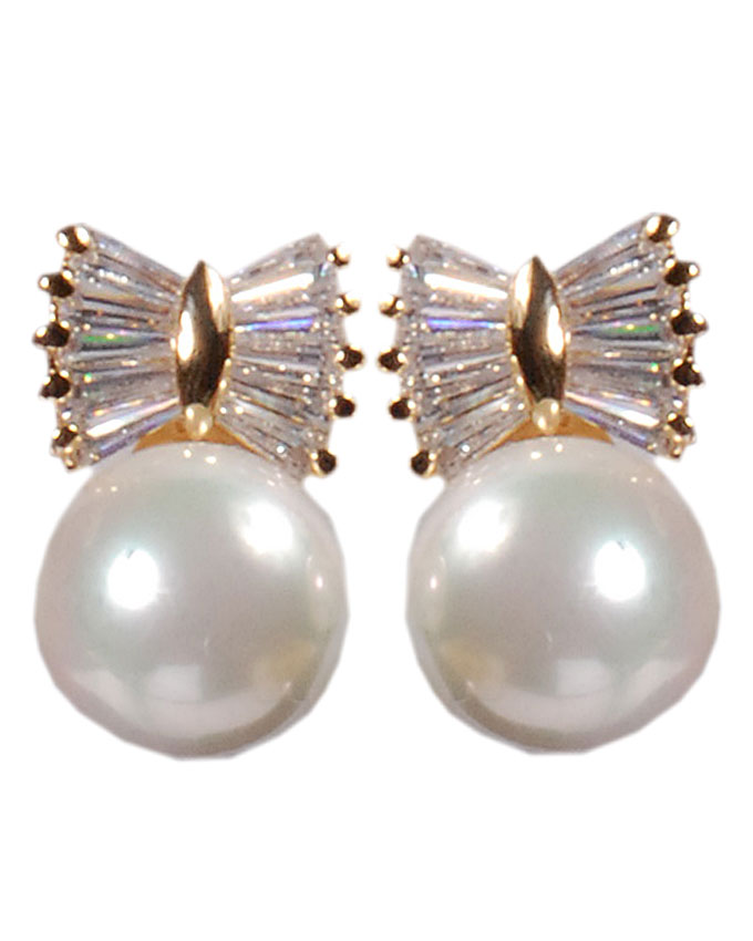 new item no t03215a1z    bow tie pearl earrings - yellow gold   n7,500