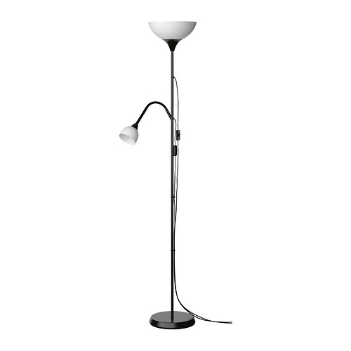 not lamp with reading lamp - black
