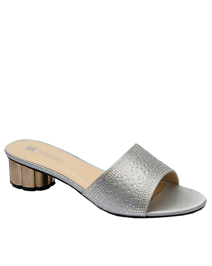 janet leather slipper with stud detail - silver   eu size 36, 37, 38, 39, 40  n12,000