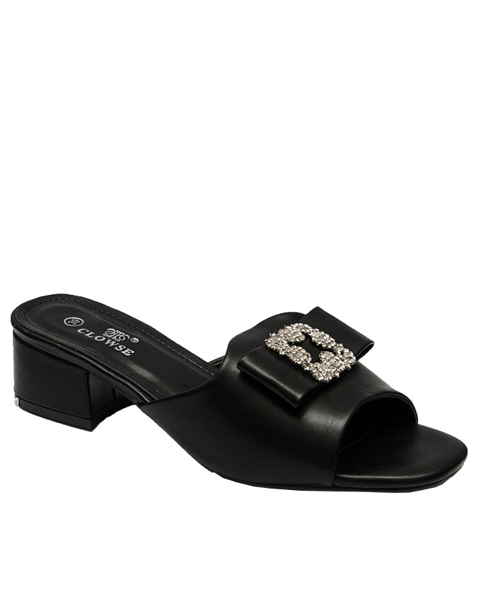 DESTINY SLIPPER WITH LARGE STUD DETAIL ON BOW - BLACK   EU SIZE 38, 39, 41  N11,500