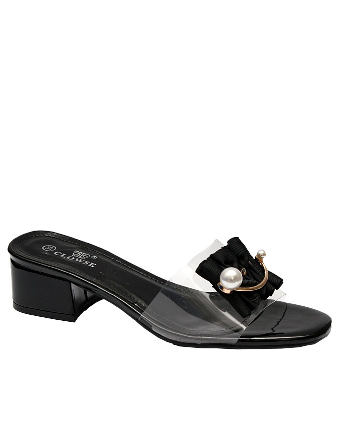 bella slipper with transparent rubber detail and pearl and fabric front - black   eu size 37, 38, 39, 40  n11,000