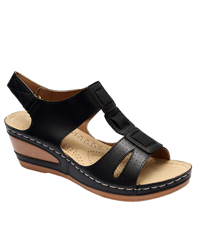 lily wedge sandal with perforated detail - black   eu size 36, 37, 38, 39, 40, 41, 42  n10,500