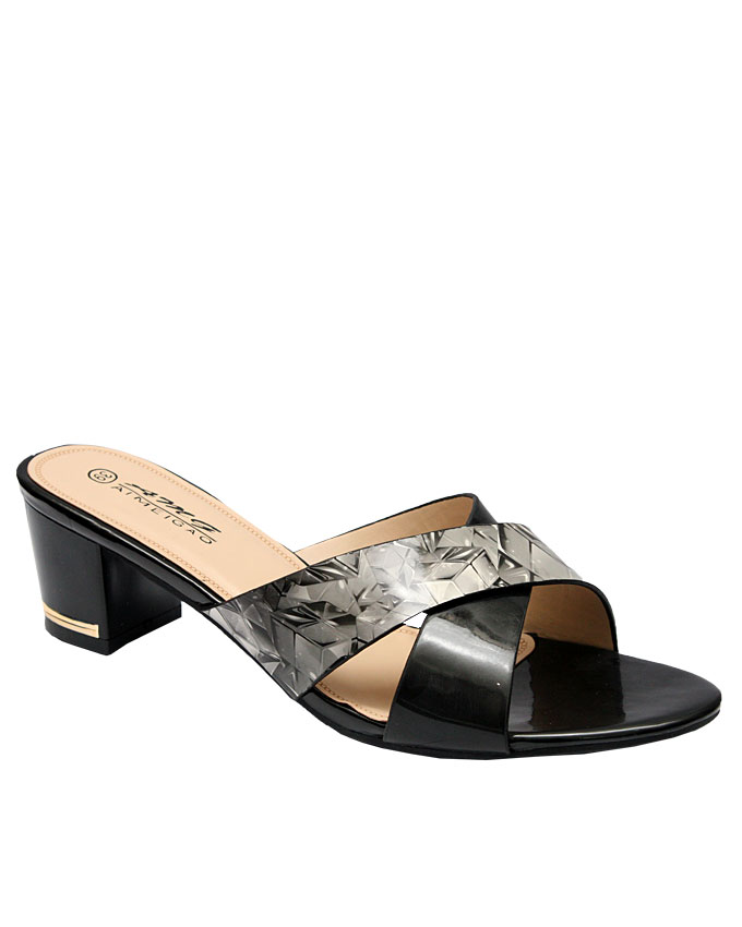 ashley leather slipper with forest detail - black   eu size 37, 39  n10,000